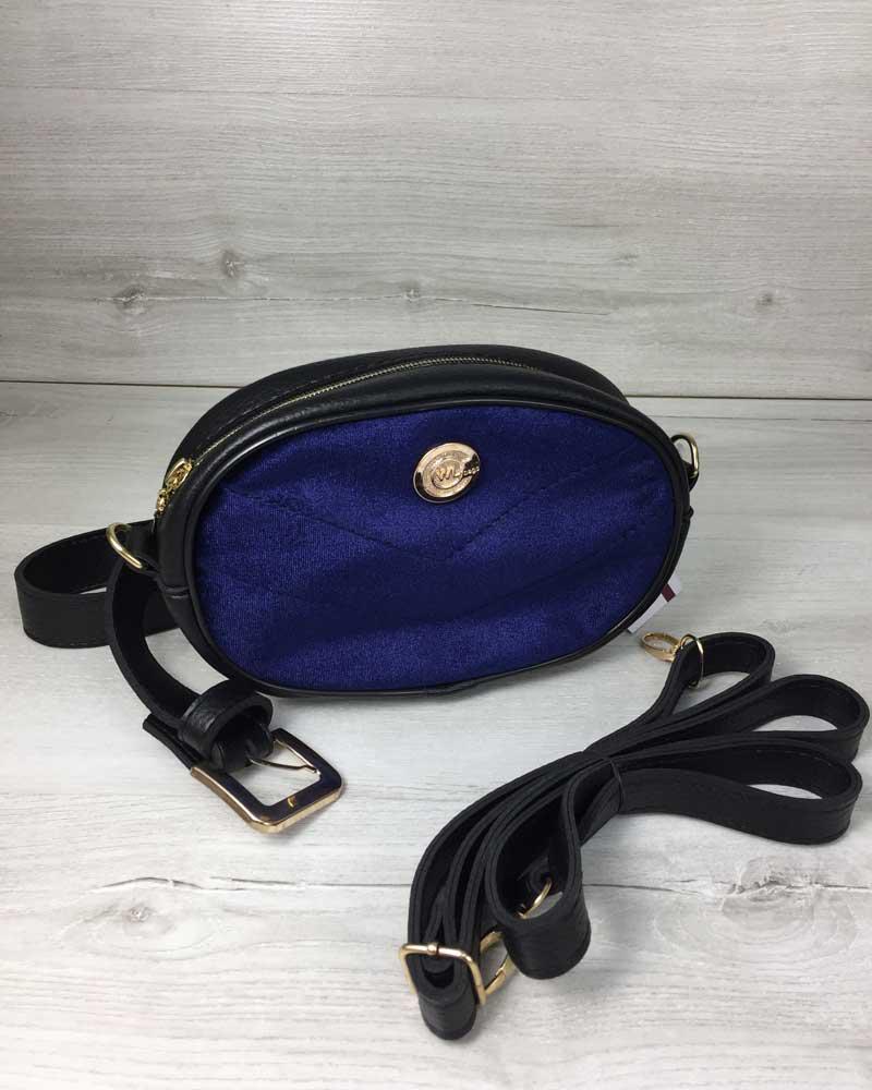 8902609cb277 Женская сумка на пояс- клатч WeLassie черного цвета Бархат синий, фото 1