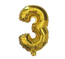 """Шар фольгированный цифра """"3"""", ЗОЛОТО - 35 см (14 дюймов)"""