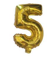 """Шар фольгированный цифра """"5"""", ЗОЛОТО - 35 см (14 дюймов)"""