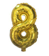 """Куля фольгований цифра """"8"""", ЗОЛОТО - 35 см (14 дюймів)"""