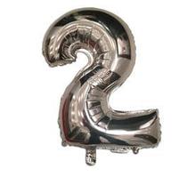 """Куля фольгований цифра """"2"""", СРІБЛО - 35 см (14 дюймів)"""