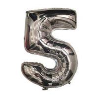 """Куля фольгований цифра """"5"""", СРІБЛО - 35 см (14 дюймів)"""