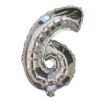 """Куля фольгований цифра """"6"""", СРІБЛО - 35 см (14 дюймів)"""