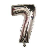 """Куля фольгований цифра """"7"""", СРІБЛО - 35 см (14 дюймів)"""