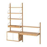 IKEA, SVALNAS, Сочетание висячих шкафов, бамбука, белого цвета (S69184450)(S691.844.50) СВАЛНАС, ИКЕА, ІКЕА, АЙКИА