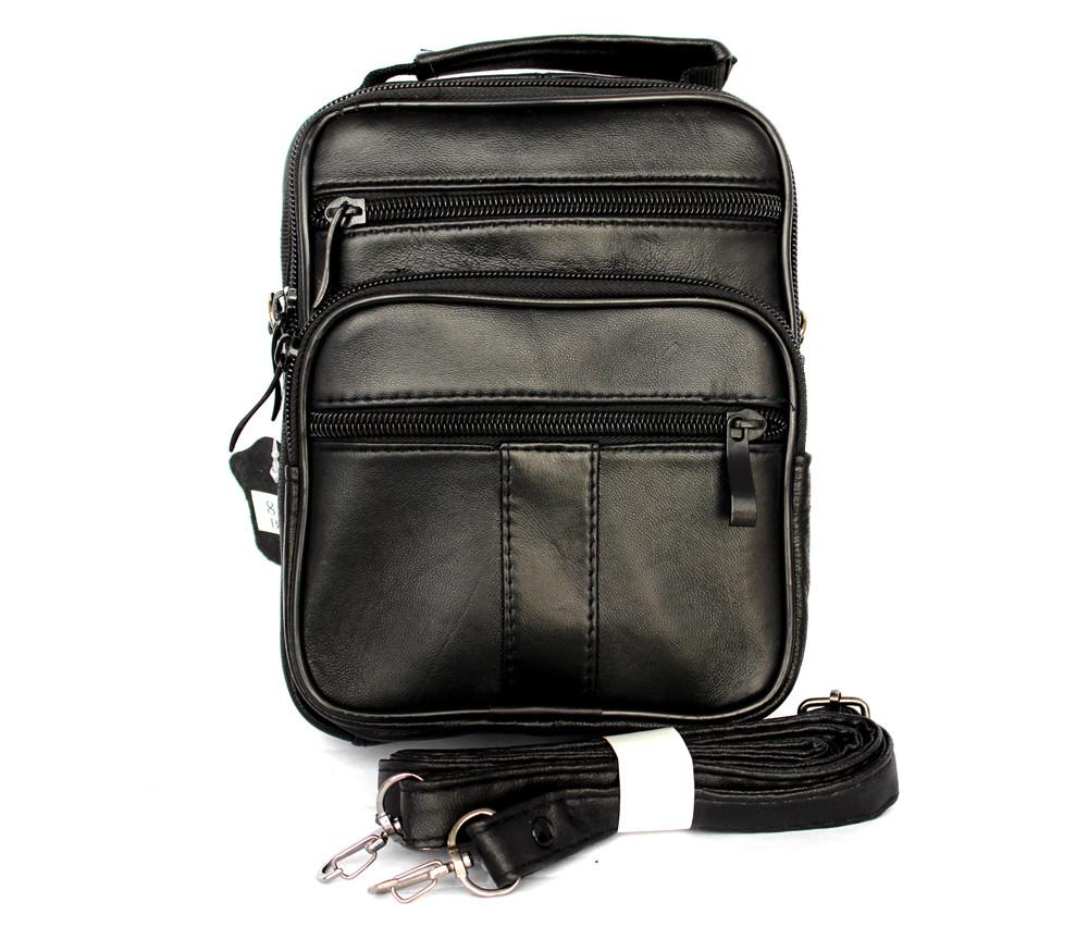 Шкіряна сумка для чоловіків містка чорна (8655)