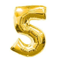 """Куля фольгований цифра """"5"""", ЗОЛОТО - 70 см (30 дюймів)"""