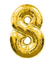 """Куля фольгований цифра """"8"""", ЗОЛОТО - 70 см (30 дюймів)"""