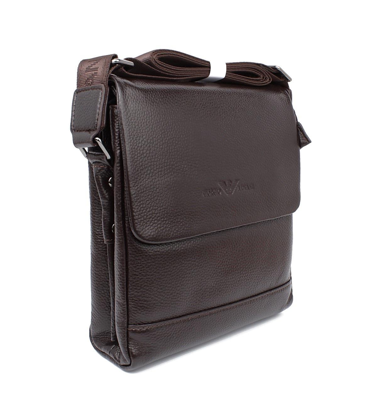 Сумка мужская малая кожаная планшет коричневая Giorgio Armani 7911-1