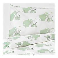 IKEA, BUSSIG, Комплект постельного белья для детей, зеленый (70365440)(703.654.40) БУСИГ, БУССИГ, БУСІГ, ИКЕА, ІКЕА, АЙКИА