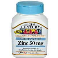 Цинк хелат 50 мг 110 таб для иммунитета мозга зрения кожи гормонального баланса мужчин женщин 21st Century USA
