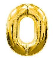 """Шар фольгированный цифра """"0"""", ЗОЛОТО - 100 см (40 дюймов)"""