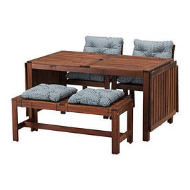 IKEA, APPLARO, Стол+2кресла+скамья, коричневая морилка, синий (S79183681)(S791.836.81) АППЛАРО АПЛАРО ИКЕА