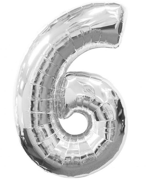 """Куля фольгований цифра """"6"""", СРІБЛО - 100 см (40 дюймів)"""