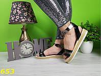 Босоножки 37,38 размеры  сандалии на платформе соломенной низкий ход черные никель К653