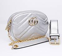 Клатч на цепочке, сумочка на пояс Gucci 20875-11 серебристая, фото 1