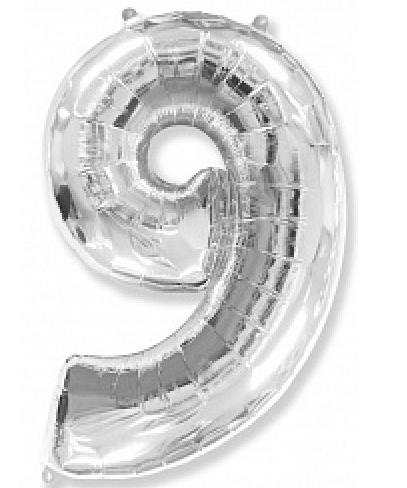"""Куля фольгований цифра """"9"""", СРІБЛО - 102 см (40 дюймів) FLEXMETAL"""