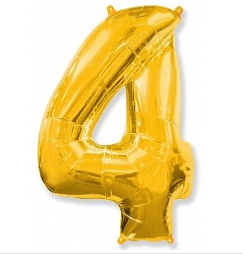 """Шар фольгированный цифра """"4"""", ЗОЛОТО - 102 см (40 дюймов) FLEXMETAL"""