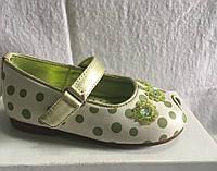 Туфельки с открытым носочком для девочки белые в зелёный горошек р.22