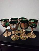 Набор хрустальные цветные рюмки на ножке в золоте Богемия