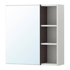 IKEA, LILLANGEN, Шкафчик зеркальн. с 1 дверц./открытые полки, черно-коричневый, серый, 59x21x64 см (89188428)(S891.884.28) ЛИЛЛАНГЕН ЛИЛАНГЕН ИКЕА