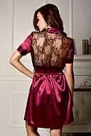Красивый женский атласный халат с кружевной спинкой Бордовый, фото 1
