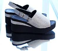 Серебристые кожаные босоножки на платформе, фото 1