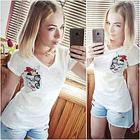 Белая футболка с Микки Маусом. Хлопок 100%