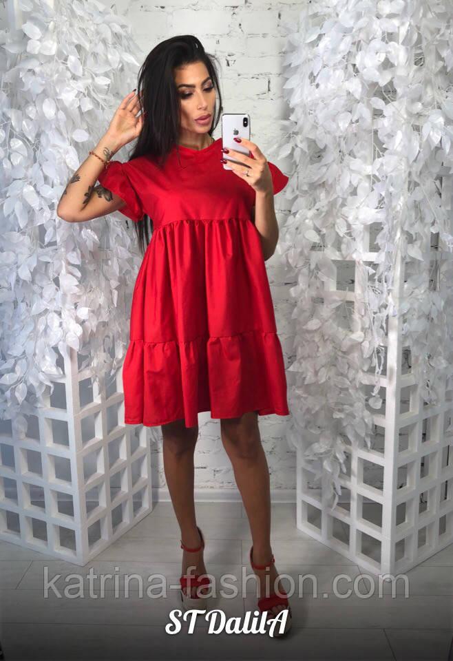 Женское хлопковое платье свободного кроя (3 цвета)