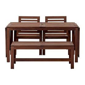 IKEA, APPLARO, Стол+2кресла+скамья, для сада, коричневая морилка (S99053971)(990.539.71) АППЛАРО АПЛАРО ИКЕА