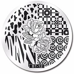Стемпинг диск метал. малый круглый d=5.5cm BT 12 Biutee в конверте