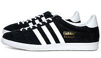 Зимние кроссовки Adidas  Gazelle OG (нат.замша) черные.