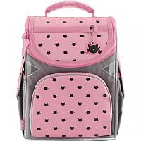 Ранец (рюкзак) - каркасный школьныйдля девочки - Кот (Котик), стильный серо- розовый,GO18-5001S-5