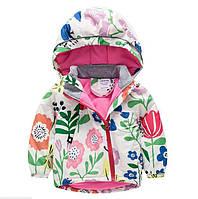 Демисезонная куртка на флисе Oberora, на молнии (Цветы 100,110,130)