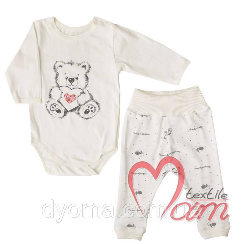 """Детский ясельный комплект """"Мишка с сердцем"""" для новорожденных"""