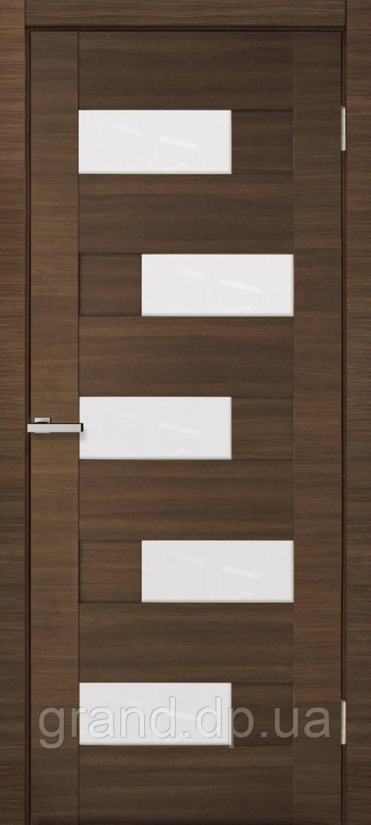 Двери межкомнатные Омис  Домино ПВХ  остекленная, дуб amber line R