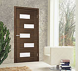 Двери межкомнатные Омис  Домино ПВХ  остекленная, дуб amber line R, фото 2