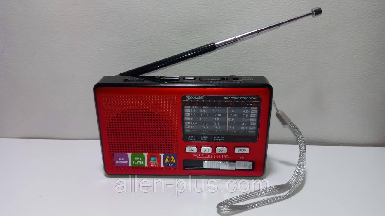 Радіоприймач багатодіапазонний GOLON RX-2288, FM/AM/SW(1-6), USB/microSD, mp3, акумулятор Li-Ion 600mAh BL-5С