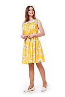 Подростковое летнее платье для девочки с ромашками, желтое