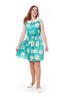 Красивое летнее платье для девочки с ромашками, бирюзовое