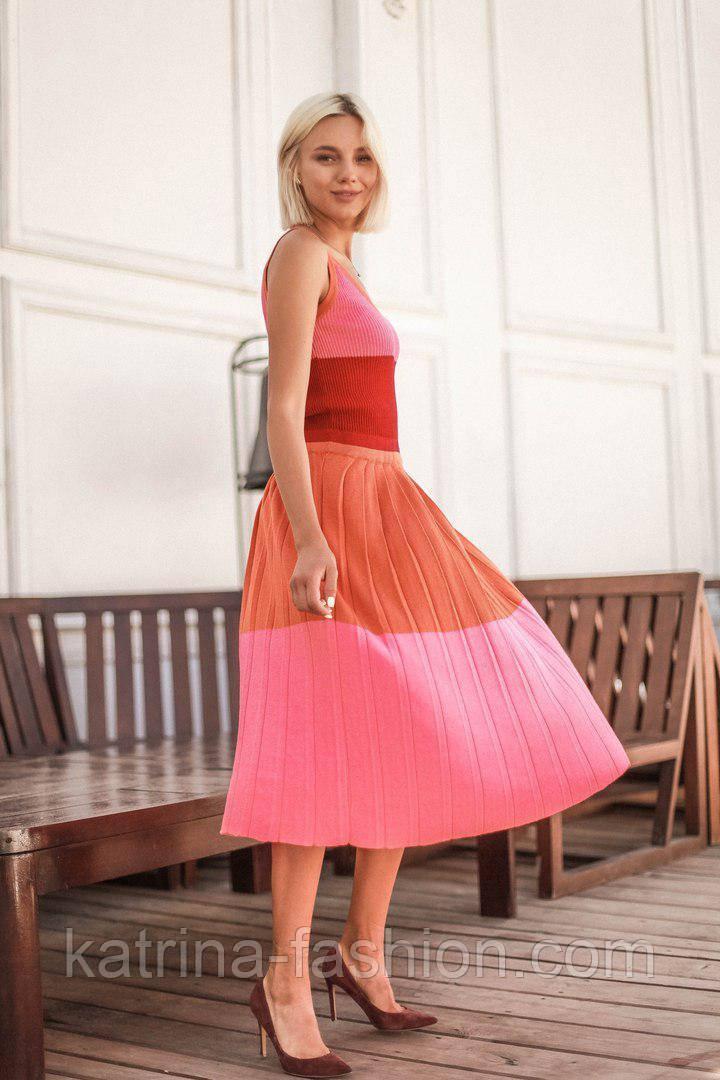 Женское трехцветное платье мелкой вязки (2 цвета)