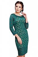 Нарядное гипюровое платье изумрудного цвета