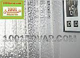 Силиконовая шторка для ванной комнаты с 3D эффектом, размер 180х180 см., бело-прозрачная, фото 4