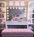 Стол  визажиста, макияжный столик, гримерный столик, зеркало с подсветкой, белый, фото 2