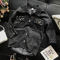 Джинсовая длинная рубашка с бисером для девочки , фото 2