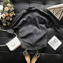Джинсовая длинная рубашка с бисером для девочки , фото 3