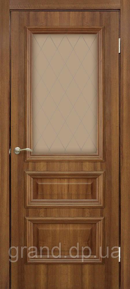 Двери межкомнатные Омис  Сан Марко 1.2 ПВХ с рисунком на стекле, цвет ольха европейская