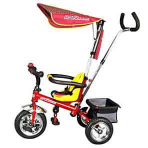Детский трехколесный велосипед Profi Trike 098-01, 02, 03, 04. 098А-01, 02, 03, 04 ПЛАСТМАСОВЫЕ МЯГКИЕ КОЛЕСА. Ручка для родителей., фото 2