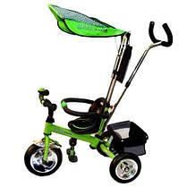 Детский трехколесный велосипед Profi Trike 098-01, 02, 03, 04. 098А-01, 02, 03, 04 ПЛАСТМАСОВЫЕ МЯГКИЕ КОЛЕСА. Ручка для родителей., фото 3
