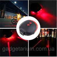 Задний фонарь, лазер велосипедный, габарит 5LED+2LASER Влагозащита + 2 батарейки, фото 1